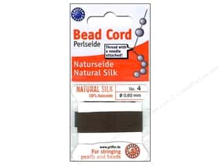 Beadalon Bead Cord 100% Silk Size 4 Brown 2M