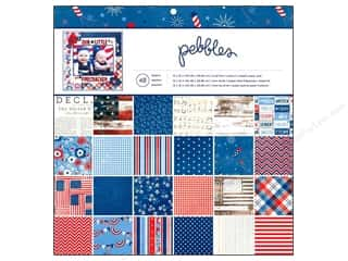 "Independence Day Paper Mache: Pebbles Paper Pad Americana 12""x 12"" 48pc"