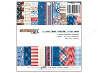 "Pebbles Inc $4 - $12: Pebbles Paper Pad Americana 6""x 6"" 36pc"