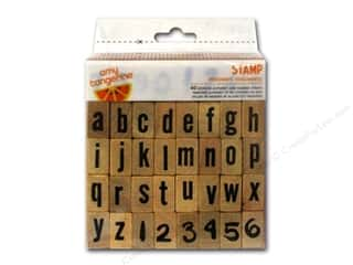 Rubber Stamping Craft & Hobbies: American Crafts Wood Stamps 40 pc. Amy Tangerine Plus One Document Alphabet & Numbers