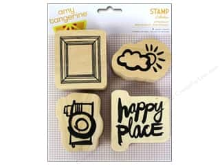 Rubber Stamping Craft & Hobbies: American Crafts Wood Stamps 4 pc. Amy Tangerine Plus One Attendant