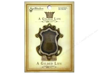 Jewelry Making Supplies Scrapbooking & Paper Crafts: Spellbinders Bezel Gilded Life Shield Small Antique Gold