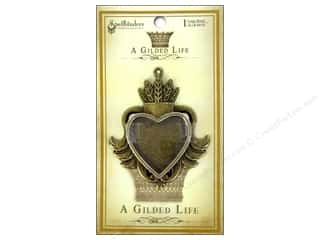 Jewelry Making Supplies Scrapbooking & Paper Crafts: Spellbinders Bezel Gilded Life Heart Large Antique Gold