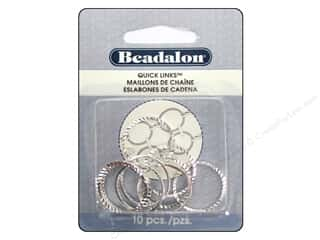 Beadalon Jump Rings/Spring Rings: Beadalon Quick Links Diamond Cut Round 20 mm Silver 10 pc.