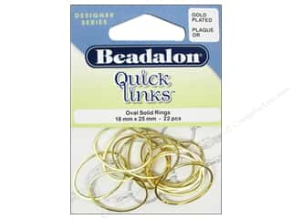 Beadalon Jump Rings/Spring Rings: Beadalon Quick Links Oval 18 x 25 mm Gold 22 pc.