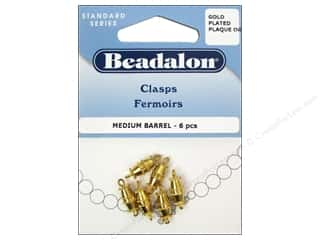 Findings $5 - $6: Beadalon Barrel Clasps 9.5 mm Medium Gold 6 pc.