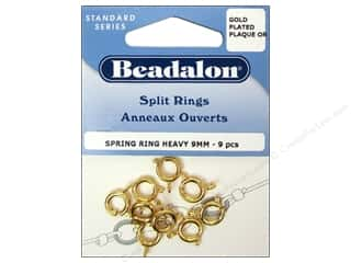 Beadalon Jump Rings/Spring Rings: Beadalon Spring Ring Clasps 9 mm Gold 9 pc.