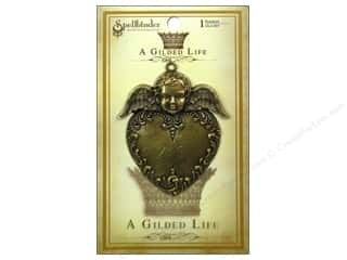 Scrapbooking Angels/Cherubs/Fairies: Spellbinders Pendant Gilded Life Heart Angel Antique Gold