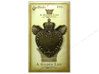 Charms and Pendants Scrapbooking & Paper Crafts: Spellbinders Pendant Gilded Life Love Wings Antique Gold