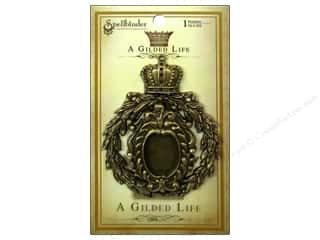 pendants jewelry: Spellbinders Pendant Gilded Life Crowned Medallion Antique Gold