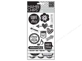 MAMBI Sticker Chipboard Chips Black White Hey You