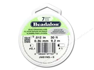 silver Wire Beading & Jewelry Making Supplies Wirework: Beadalon 7 Strand Bead Wire .012 in. Satin Silver 30 ft.