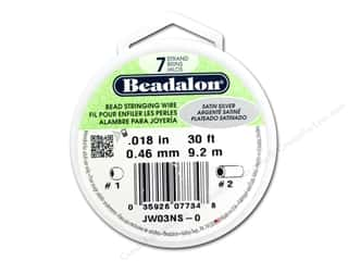 silver Wire Beading & Jewelry Making Supplies Wirework: Beadalon 7 Strand Bead Wire .018 in. Satin Silver 30 ft.