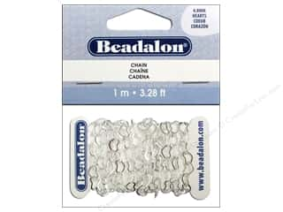 Hearts Beading & Jewelry Making Supplies: Beadalon Heart Cable Chain 4.8 mm Silver 3.28 ft.