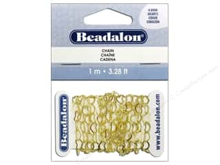 Chains Beading & Jewelry Making Supplies: Beadalon Heart Cable Chain 4.8 mm Gold 3.28 ft.