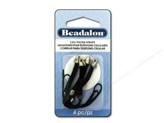 Beadalon Cell Phone Strap Braided Black White Plated 4 pc.