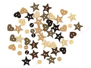 Stars Buttons: Jesse James Dress It Up Embellishments Micro Shapes Natural