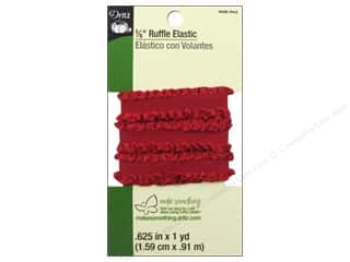 Elastic Specialty Elastic: Ruffle Elastic by Dritz 5/8 in. x 1 yd.  Red
