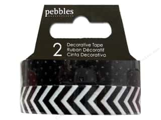 Pebbles Tape Basics Washi Dot & Chevron Black