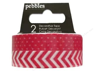 Pebbles Tape Basics Washi Dot & Chevron Rouge