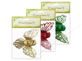 "Sequins Green: Midwest Design Birds 3"" Fancy with Clip Gold/Red/Green Assorted 1pc"