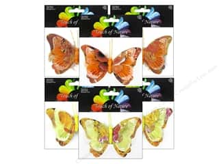 "Floral Arranging paper dimensions: Midwest Design Butterfly 3"" Feather/Paper Tangerine/Yellow 1pc"