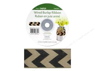 Ribbons Sale: FloraCraft Ribbon Burlap 2 1/2 in. x 5 yd. Chevron Black Wired