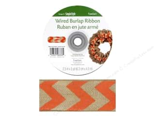 Ribbons 2 Yards: FloraCraft Burlap Ribbon 2 1/2 in. x 5 yd. Chevron Salmon Wired