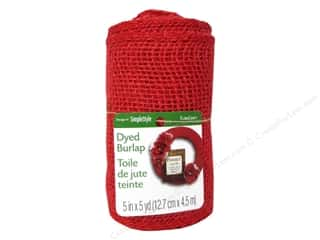 Craft Embellishments: FloraCraft Burlap Ribbon 5 in. x 5 yd. Red
