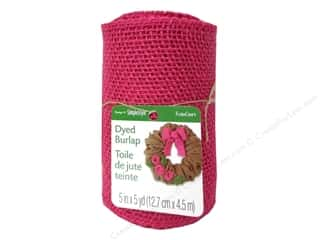 Craft Embellishments: FloraCraft Burlap Ribbon 5 in. x 5 yd. Pink