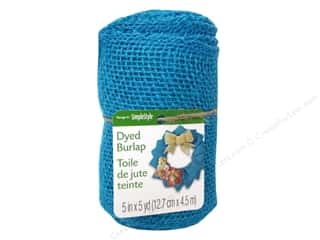 "FloraCraft Ribbon Burlap Roll Blue 5""x 5yd"
