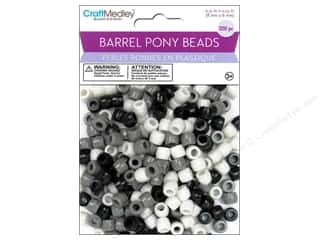 Beads Black: Multicraft Beads Barrel Pony Black & White 200pc