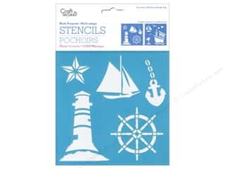 "Multi's Embellishment  Yarn Beach & Nautical: Multicraft Craft Decor Stencil 6""x 6"" On The Water"