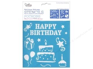"Party & Celebrations Projects & Kits: Multicraft Craft Decor Stencil 6""x 6"" Birthday Treats"
