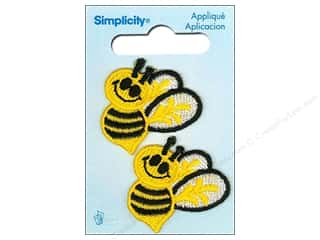 Wrights Iron-On Appliques: Simplicity Appliques Iron On Bees Yellow/Black (3 pieces)