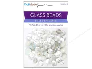 Multicraft Beads Glass Silver Foil White 1.7oz