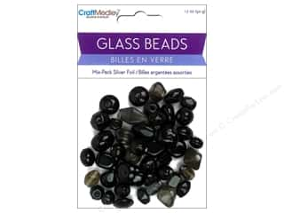 Multicraft Beads Glass Silver Foil Black 1.7oz
