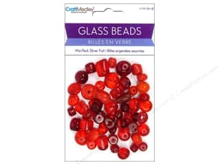 Multicraft Beads Glass Silver Foil Red 1.7oz
