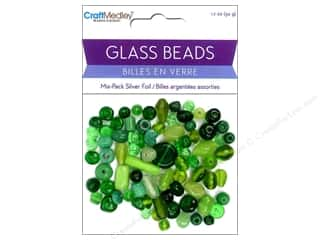 Multicraft Beads Glass Silver Foil Green 1.7oz