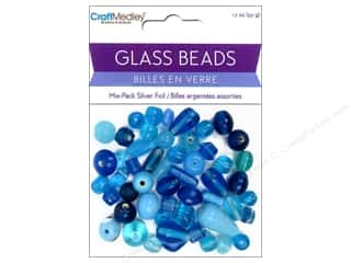 Multicraft Beads Glass Silver Foil Aqua 1.7oz