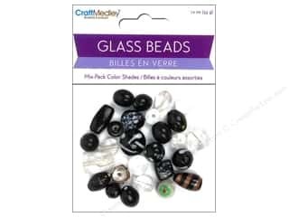 Multicraft Beads Glass Color Shade Blk/Wht 1.2oz
