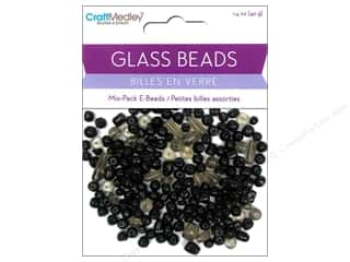 Beads Black: Multicraft Beads Glass E Bead Black 1.4oz