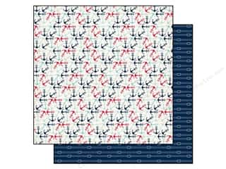 Carta Bella Printed Cardstock: Carta Bella 12 x 12 in. Paper Ahoy There Anchors Away (25 pieces)