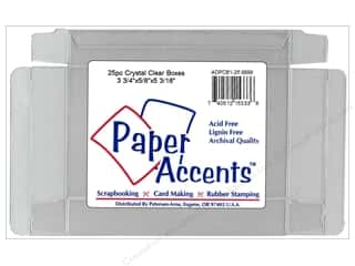 Boxes and Organizers Paper Accents Box: Paper Accents Crystal Clear Box 3 3/4 x 5/8 x 5 3/16 in. 25pc