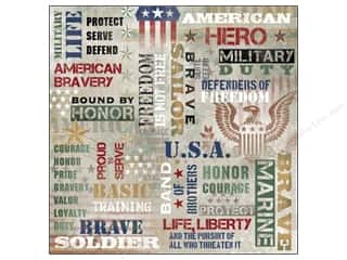 "Memorial / Veteran's Day Black: Karen Foster Paper 12""x 12"" Military American Hero (25 pieces)"
