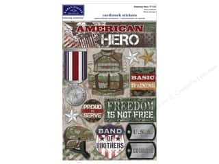 Memorial / Veteran's Day paper dimensions: Karen Foster Sticker Military American Hero