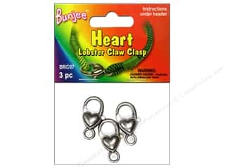 Macrame Hearts: Pepperell Bungee Cord Clasp Heart Lobster Claw Antique Silver 3pc
