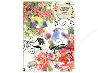 Office Pads: Punch Studio Sticky Notes Padfolio Pink Blossom Bird