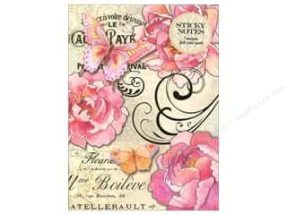 Punch Studio: Punch Studio Sticky Notes Padfolio Peony Butterfly Script