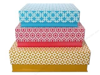 "Boxes and Organizers 14"": Lily McGee Nesting Box Rectangular Flip Top Set of 3 Geometrics"